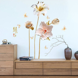 paper for art Australia - New Beautiful Flower Wall Stickers for Living Room TV Background Home Decoration Bedroom Art Decals Murals