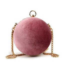 balls candy Canada - Matte Round Ball Handbags Women Famous Retro Leather Velvet Box Bag Fashion Chain Shoulder Clutches Bags
