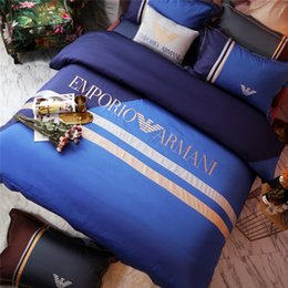 Chinese  Fashion Brand Blue Bedding Suit 4PCS Sheet Quilt Cover Pillowcase All Cotton Bedding Sets Men And Women New Spring Summer Bedding Supplies manufacturers