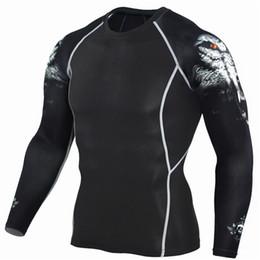 $enCountryForm.capitalKeyWord Australia - Wolf Print Dry Fit Rashgard Running Shirt Men Compression Shirt Gym T Fitness Top Sport Men Jersey Crossfit T-shirt