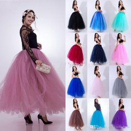 Satin layer Skirt online shopping - Hot Sale Layers cm Summer Long Tulle Skirt Fashion Pleated TUTU Skirts Womens Lolita Petticoat Bridesmaids Dress CPA836