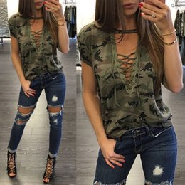 Discount camouflage v neck t shirts - Summer Women Short Sleeve Camouflage Loose Casual Ladies T Shirt Tops Summer Bandage Hollow Out T-Shirt Tops Gray Army G
