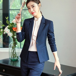78bfdbfc1853 New Fashion stripe pants suit women temperament business Interview long sleeve  blazer and pant office ladies plus size work wear