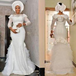 $enCountryForm.capitalKeyWord UK - 2019 plus size nigerian style lace mermaid wedding dresses bridal dress robe de mariée wedding dress custom made 3 4 long sleeves