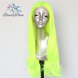 $enCountryForm.capitalKeyWord Australia - Beautytown Neon Yellow Color Natural Wave Heat Resistant Hair Queen Makeup Women Present Wedding Party Synthetic Lace Front Wigs Y190717