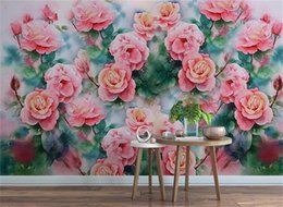$enCountryForm.capitalKeyWord NZ - Custom 3D Photo Wallpaper Mural Living Room Sofa TV Backdrop Mural Hand-painted pink roses Picture Wallpaper Mural Sticker Home Decor