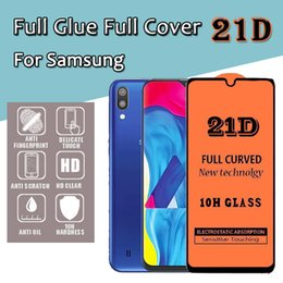 anti shock film NZ - 21D Full Glue Cover Transparent Tempered Glass Film Screen Protector Guard For Samsung A40S A6S A8S A9S A20E J2 J4 Core A9 Pro Anti-shock