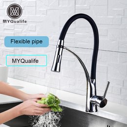 matte black faucet UK - Matte Black Kitchen Sink Faucet Pull Down Swivel Spout Kitchen Sink Tap Deck Mounted Bathroom Hot and Cold Water Mixers T200423