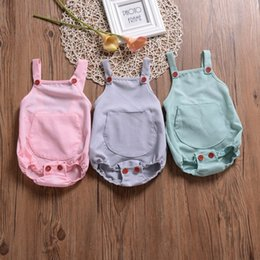 jumpsuits suspenders NZ - Kids Jumpsuits INS Summer 2019 Baby Girls Solid Suspender With Button Triangle Rompers Infant Rompers Newborn Romper Kids Clothing Q171