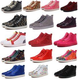SandalS lighting online shopping - Fashion Designer Brand Studded Spikes Flats shoes mens sandals Red Bottom Shoes For Men and Women Party Lovers Genuine Leather Sneakers