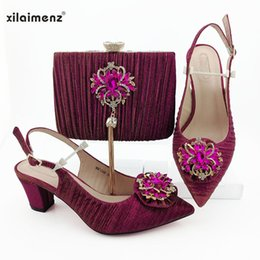 $enCountryForm.capitalKeyWord Australia - Fuchsia African Sandals with Matching Bag for Woman Pointed Toe Shoes and Purse Set High Quality Nigerian Wedding Pumps
