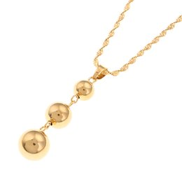 $enCountryForm.capitalKeyWord Australia - Gold Color Bead Round Pendant Necklaces Ball for Women Arab African Ethiopian Jewelry Gift