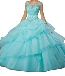 $enCountryForm.capitalKeyWord NZ - Women 2019 New Quinceanera Dresses Boat Neck Beaded Crystal Off Shoulder Sweet Girls 15 16 Ball Party Gowns Daughter Dance Gifts