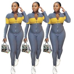 jumpsuits comfortable NZ - womens romper pullover jumpsuit long sleeve jumpsuit sexy v-neck fashion skinny jumpsuit zipper comfortable clubwear hot selling klw2945