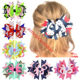 $enCountryForm.capitalKeyWord Australia - 18pcs Dots Hair Bows Navy Blue Red Hairpin Stacked Boutique Kids Bows Hair Clips For Girls Hair Accessories