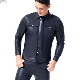 leather collar shirt Australia - Men Trend Wet Look Patent Leather Shirt Adult Party Shirt Turn-down Collar Long Sleeve Button Down Slim Fit Nightclub Shirts