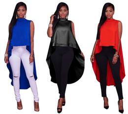 4fe971da146 Casual Women Clothes Summer High Low Hem Irregular Tshirt Fashion  Sleeveless Front Short Back Long Zipper Pullover Tees Tops Blue Black Red