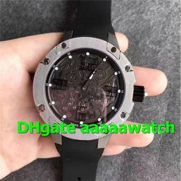 Watch 45mm Australia - SF New Luxury Men Watch 033 Watch 45mm Extra Flat Automatic Titanium Case Skeleton Dial Numeric Marker on Black Rubber Strap A.RMXP1