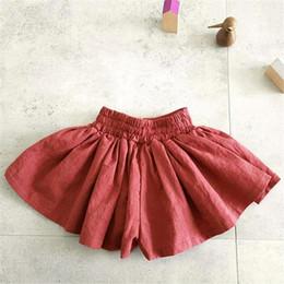 $enCountryForm.capitalKeyWord Australia - INS Toddler Kids Girls Skirts Cotton Blank Beige Red Tutu Skirts Elastic Waist Summer Children Girls Princess Dresses for 1-6T