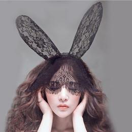 Black Bunny Mask Australia - New Fashion Women Lace Rabbit Bunny Ears Veil Hair Accessories Sexy Black Mask Halloween Party Sexy Hair Band Club Cosplay