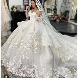 long tailed t shirts UK - Spring 2020 Princess Long Sleeves Ball Gown Wedding Dresses High Quality Cathedral Long Tail Women Fashion Vestidos De Novia robe de mariage