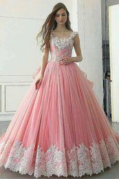 $enCountryForm.capitalKeyWord Australia - Lovely 3D Floral Flowers White Lace Peach Tulle Quinceanera Prom dresses Ball Gown Sequins Corset Back Long Sweet 16 Vestidos De Dress