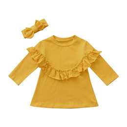 da58af15 Winter Baby Clothes Baby Girls Tops And Tees Toddler Kids Baby Girl Solid  Long Sleeve Ruffles T-Shirt Top+Headband Clothes S07#F