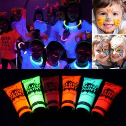 $enCountryForm.capitalKeyWord Australia - 6pcs Face Body Paint Kit Neon Glow in Dark Fluorescent Body Art Painting Halloween Kids Cosplay Makeup Halloweens' Eve Party