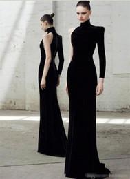 Robe soiRee cRystal online shopping - Elegant Formal Long Sleeves One Shoulder Evening Dresses Black Mermaid Evening Gowns Fashion Velvet Prom Dress Robe De Soiree