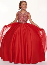 $enCountryForm.capitalKeyWord Australia - Red Crystal Girls Pageant Dresses Sheer Neck Hollow Back Tulle Satin Ball Gowns Beading Sequin Party Prom Dress For Kids Girls