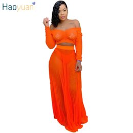 65b8dedbb HAOYUAN Neon Sexy Two Piece Outfits Women Summer Festival Clothing Crop Top+ Pleated Maxi Skirts Mesh Sheer 2 Piece Matching Sets