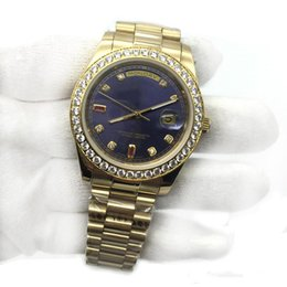 Discount 18k gold wrist watches - Hot sell Luxury Mens Watch Blue Dial 18K Gold President Sapphire Cystal Diamond Number Men Watches Automatic Mechanical