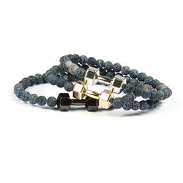$enCountryForm.capitalKeyWord Australia - 6mm Hematite Beads Dumbbell Bracelet Jewelry Weathered Granite Stone Bracelets For Women Men Fitness Glass Beads Barbell Jewelry Pulseras