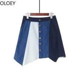 Korean irregular sKirt online shopping - Patchwork Irregular Women Jean Skirt High Waist A Line Color Block Denim Skirts Summer Knee length Skirt Korean Casual Style