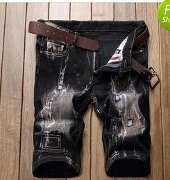 $enCountryForm.capitalKeyWord Australia - Mens jeans Shorts high quality Motorcycle biker jeans Short Pants Tight Skinny Slim Ripped hole Men's Denim Shorts Men Designer Short jeans