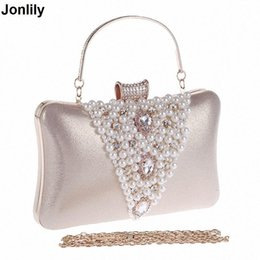 Nice Women Pearl Evening Bags Handmade Beaded Day Clutches Crystal Purses  And Handbags Gorgeous Bridal Wedding Party Bag Li-1255 e9c101885c2e