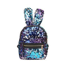 Bunny Rabbit Cartoon Australia - New Baby Girls Rabbit Ears Backpacks Cartoon Sequin Kids Mini Bunny Shoulders Bag Boutique Fashion Travel Purse Handbag 6 Colors