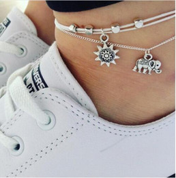 multiple women bracelet Canada - 2019 Vintage Multiple Layers Anklets for Women Elephant Sun Pendant Charms Rope Chain Beach Summer Foot Ankle Bracelet Jewelry