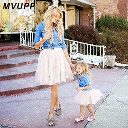 Match Clothing Mom Baby NZ - Mother Daughter Dresses Family Matching Clothes Suit Denim Shirt Skirts 2pcs Mommy And Me Sets Two-piece Baby Girl Mom Dress Y190523