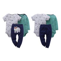 girls trouser linen UK - 3 pcs set Baby girl bodysuit + trousers baby cotton romper set newborn baby boy jumpsuit