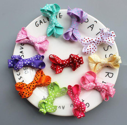 Color Alligator Hair Clips Australia - 60pcs Girl mini polka dot Hair Bow clip with all wrapped ribbon security clips Ribbon Lined Alligator clip Hairpin FJ3232