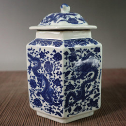 Chinese Porcelain Painting Australia - Collection Chinese Blue and white porcelain Handwork painting dragon pattern hexagonal cover pot