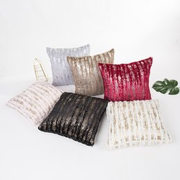velvet brush Australia - Decorative Cushion Covers Double-sided Crystal Sequin Brush Gold Square Plain Knit Zipper Pillowcase Home Car Sofa Cushion Cover