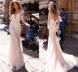 $enCountryForm.capitalKeyWord Australia - 2019 Illusion Full Lace Mermaid Wedding Dresses Long Sleeve Applique Vestidos De Novia White Ivory Bridal Gowns Custom