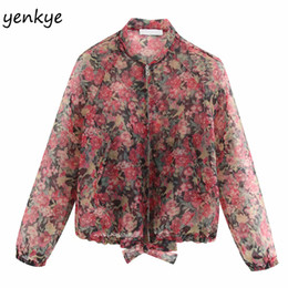 $enCountryForm.capitalKeyWord Australia - 2019 Women Floral Print Sexy Semi-sheer Organza Bomber Jacket Femme Stand Collar Long Sleeve Plus Size Jacket chaqueta mujer