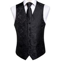 $enCountryForm.capitalKeyWord Canada - DiBanGu Men's Black Vest Pocket Square Tie Cufflinks Hanky Suit Set For Men Wedding Party Business MJ-109