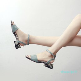 Crystal2019 Printing With Square Sandals Woman Xia Baida Square Coarse With Original The Night Wind One Buckle Single Shoe