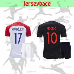Опт Новый 18 19 чемпионат мира по футболу MODRIC детский футбольный комплект MANDZUKIC home away PERISIC KOVACIC RAKITIC SRNA BROZOVIC KALINIC Футбольная форма Lovren
