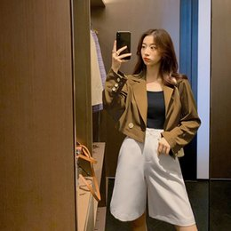 brown outerwear NZ - Women Turn-Down Collar Long Sleeve Cropped Blazers Notched 2019 Autumn Solid Short Jacket Work Coat Solid Brown Outerwear