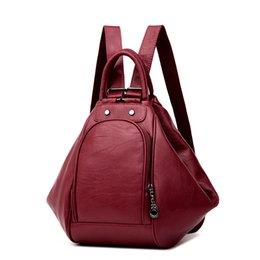 Grey Back Pack Australia - 3-in-1 Backpack Multifunction Women Backpack Leather School Bag For Girls Mochila 2019 New Fashion Travel Back Pack Sac A Main